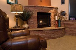 A custom corner fireplace