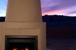 Backyard patio fireplace