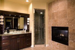 Master bathroom with two-way fireplace
