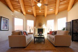 Split cedar ceiling with vegas