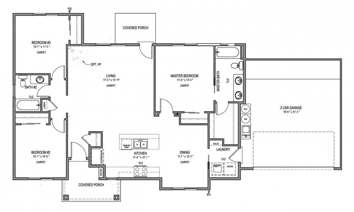 Pedernal Floorplan - 1408 sq ft